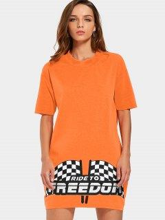 Graphic Print Mini Shift Dress - Orange Xl