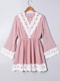 High Waist Lace Panel Flare Sleeve Dress - Light Pink Xl