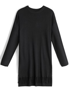 Bow Tied Long Sleeve Fringed Sweater Dress - Black