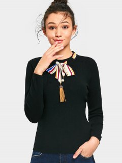 Fitting Bow Tied Fringed Sweater - Black