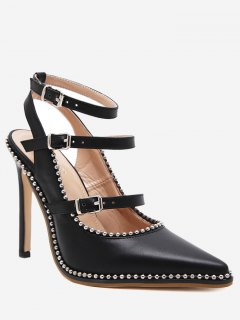 Buckle Straps Stud Ankle Strap Pumps - Black 40