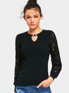 Keyhole Faux Pearl Lace Sleeve Knitwear - Black