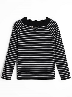 Scalloped Cut Out Stripes Sweater - Black