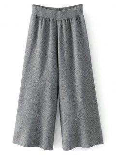 Knit High Waisted Gaucho Pants - Deep Gray