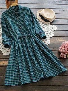 Drawstring Waist Checked Pocket Flare Dress - Green