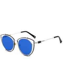 Hollow Out Double Rims Cat Eye Sunglasses - Blue