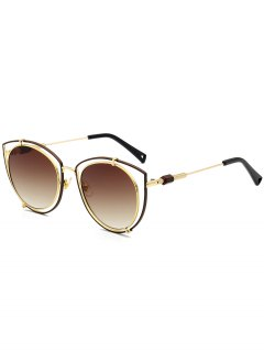 Hollow Out Double Rims Cat Eye Sunglasses - Tea-colored