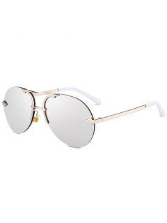Alloy Panel Rimless Pilot Sunglasses - Silver