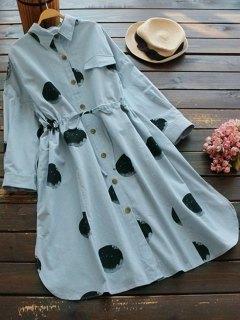 Round Print Drawstring Shirt Dress - Stone Blue
