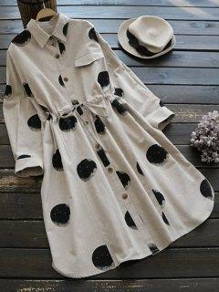 Round Print Drawstring Shirt Dress - Light Khaki