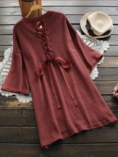 Robe Pull à Encolure En Lace Up - Brique