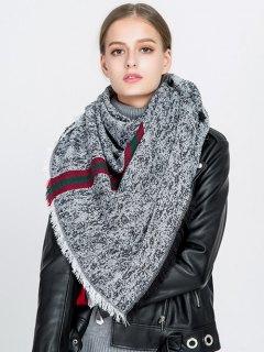 Stripe Panel Fringed Blanket Scarf - Black