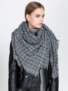 Small Plaid Fringed Blanket Scarf - Black