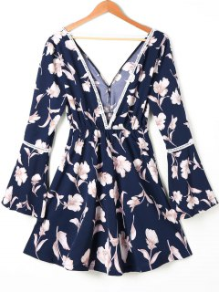 Hollow Out Floral Print Flare Sleeve Dress - L