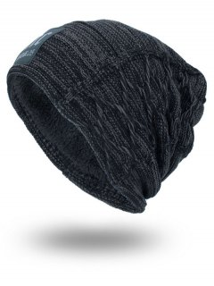 Thicken Double-Deck Knit Hat With Letters Label - Deep Gray