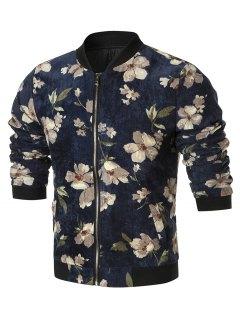 Zip Up Floral Corduroy Jacket - Cadetblue 4xl