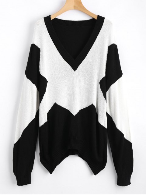 fancy Oversized Two Tone V Neck Sweater - WHITE AND BLACK S Mobile