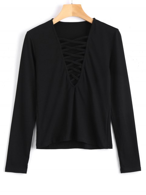 buy Long Sleeve Criss Cross Layering Top - BLACK S Mobile