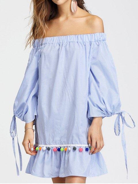 women's Off Shoulder Split Sleeve Embellished Striped Dress - LIGHT BLUE S Mobile