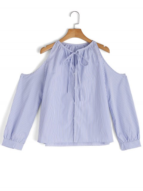 affordable Button Up Stripes Cold Shoulder Shirt - BLUE XL Mobile