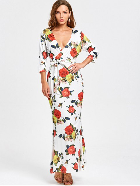 online Crossed Front Belted Floral Maxi Dress - FLORAL L Mobile