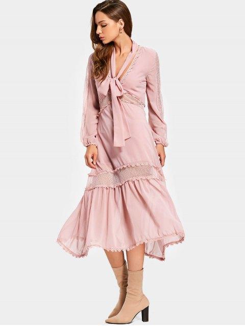 fashion Plunging Neck Mesh Panel Chocker Belt Dress - PINK L Mobile