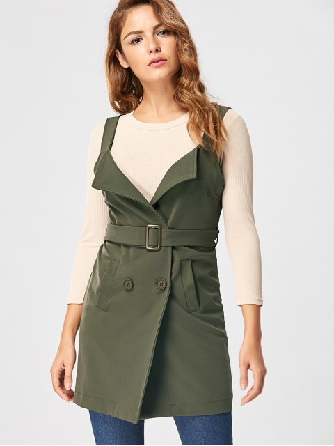 unique Vertical Pockets Waistcoat with Belt - ARMY GREEN M Mobile