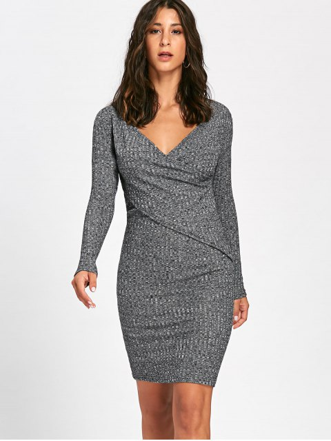 shops Long Sleeve Ribbed Surplice Knit Dress - GRAY 2XL Mobile