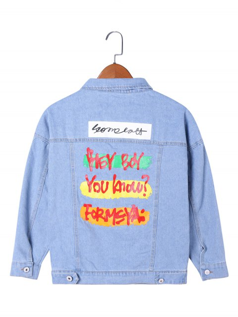 unique Letter Print Flap Pockets Jean Jacket - LIGHT BLUE 2XL Mobile