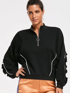 Ruffles Half Zipper Sweatshirt - Black M