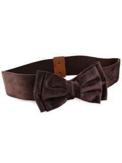 Vintage Bowknot Embellished Elastic Waist Belt - Deep Brown