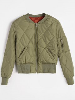 Zip Up Pilot Jacket With Pockets - Vert Armée S
