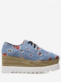Plaid Denim Square Toe Wedge Shoes - Blue 36