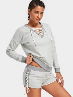 Casual Lace Up Sweatshirt With Shorts - Gray M