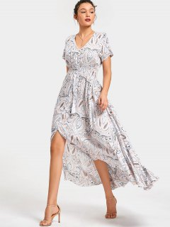 Front Slit Printed Tassels Maxi Dress - White S