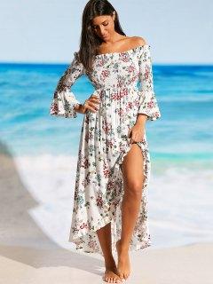 Slit Off Shoulder Floral Beach Maxi Dress - Floral S