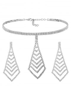 Rhinestone Pyramid Pendant Choker Necklace And Earrings - Silver