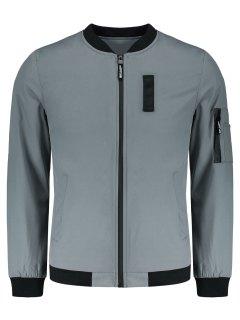 Pockets Zippered Jacket - Gray 4xl
