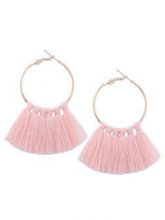 Circle Tassel Hoop Earrings - Light Pink