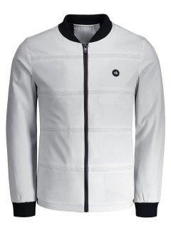 Zipper Ok Patch Jacket - Light Gray 4xl