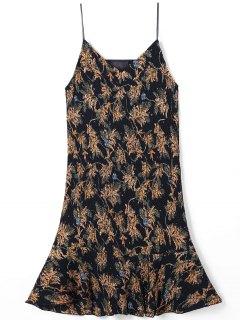 Drop Waist Spaghetti Strap Pleated Printed Dress - L