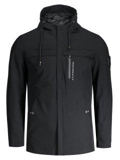 Slim Fit Hooded Zipper Jacket - Black 4xl