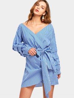 Long Sleeve Wrap Checked Mini Dress - Stripe S