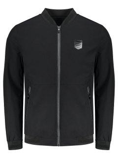 Zipper Waterproof Jacket - Black 4xl