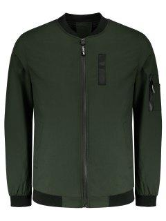 Pockets Zipper Up Jacket - Army Green 4xl