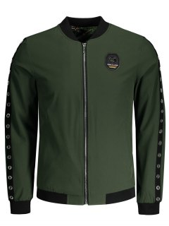 Badge Metal Ring Jacket - Army Green 4xl