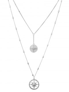 Layered Floating Star Charm Necklace - Silver
