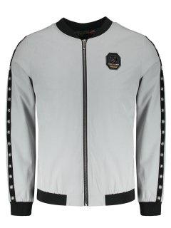 Metal Ring Badge Jacket - Gray 4xl