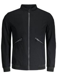 Zipper Pocket Waterproof Jacket - Black 4xl