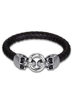 Bracelet à Tisser En Cuir Faux En Crâne - Noir